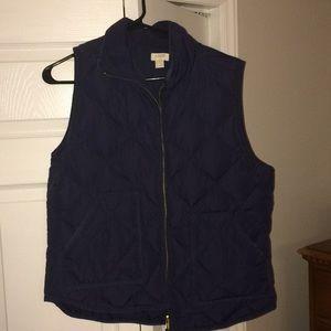 J Crew navy puff vest, L